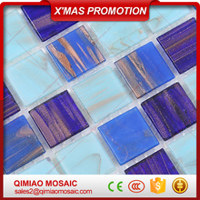 20X20 Square Blue Glass Tiles Mix Gold Line Hot Melt Mosaic Swimming Pool