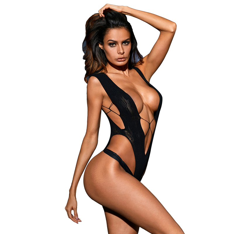 Hot Sale Wholesale Sexy Black Sultry V Shape Hollow Out Lace Woman Teddy Lingerie