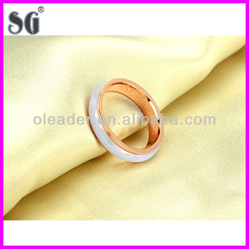 ceramic plating gold stainless steel men's ring