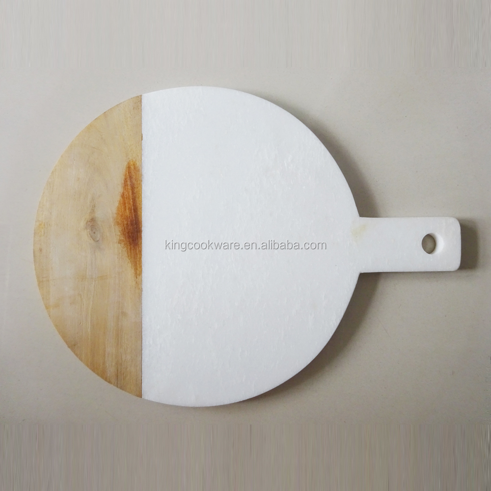 Slate Marble+Wood Cheese Board With Handle and Hole, Marble Chopping Board, Stone Cutting Board