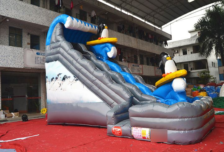 Hot sale cheap inflatable penguin water slides with pool for backyard for kids