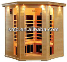 smartmak 4 person wood house corner infrared sauna house with ceramic heater