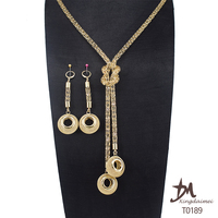 Dubai Fashion Jewelry Earring and Pendant 18k Gold Plated Jewelry Set For Ladies