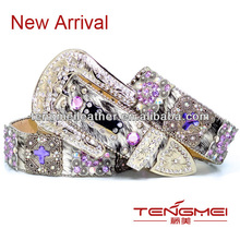purple cross concho hair hide bridal rhinestone belt for western cowgirl