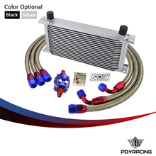 PQY STORE-UNIVERSAL 19 ROW AN10 ENGINE TRANSMISS OIL COOLER KIT +FILTER RELOCATION BLUE