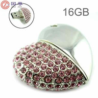 High Quality 16GB/4GB USB Flash Drive Heart Shape Crystal Jewelry USB Flash Memory Drive Keychain