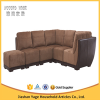 Modern living room brown fabric & pu leather sectional sofa design