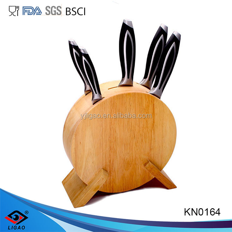 Professional high quality stainless steel knife for kitchen with wood stand