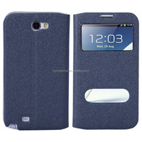 gorgeous pu mobile phone holster with touch window design cover for samsung note2