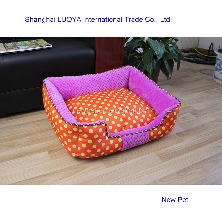 Cheap eco-friendly elegantly designed dotted pet bed indoor luxury round dog bed