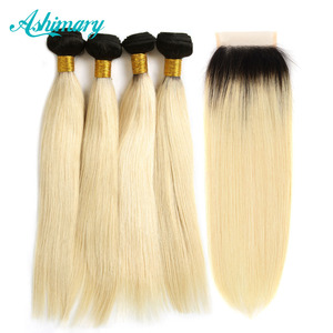 unprocessed brazilian human hair 3 bundles and 1 hair closure color in 1B/613 silky straight hair extensions dropship