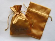gold drawstring satin pouches/bags