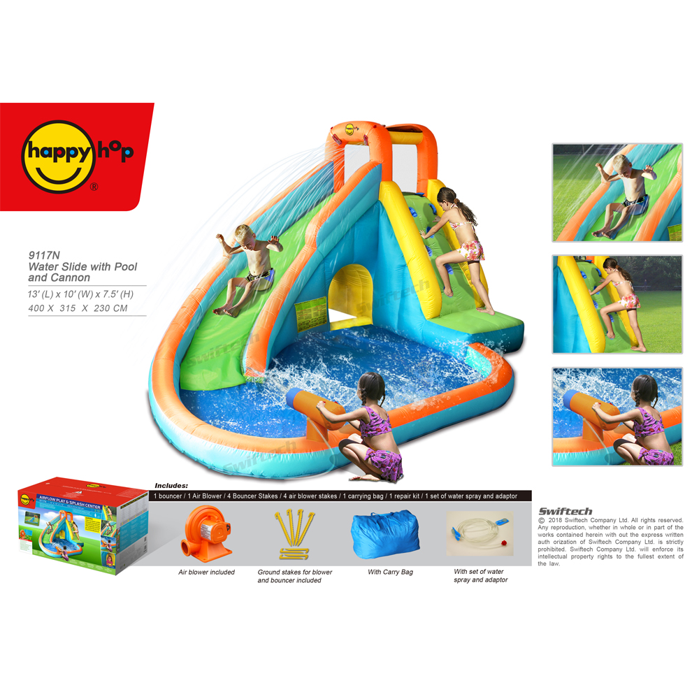 Happy Hop Hot Sale Inflatable Water Slide with Pool and Cannon-9117N, inflatable bouncer and Water Slide Park for sale
