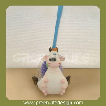Resin cow shaped toilet brush holder