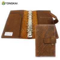 7.5X5 Inch Stitched Travelers Notebook Genuine Leather Cover Journal With Ring Binder