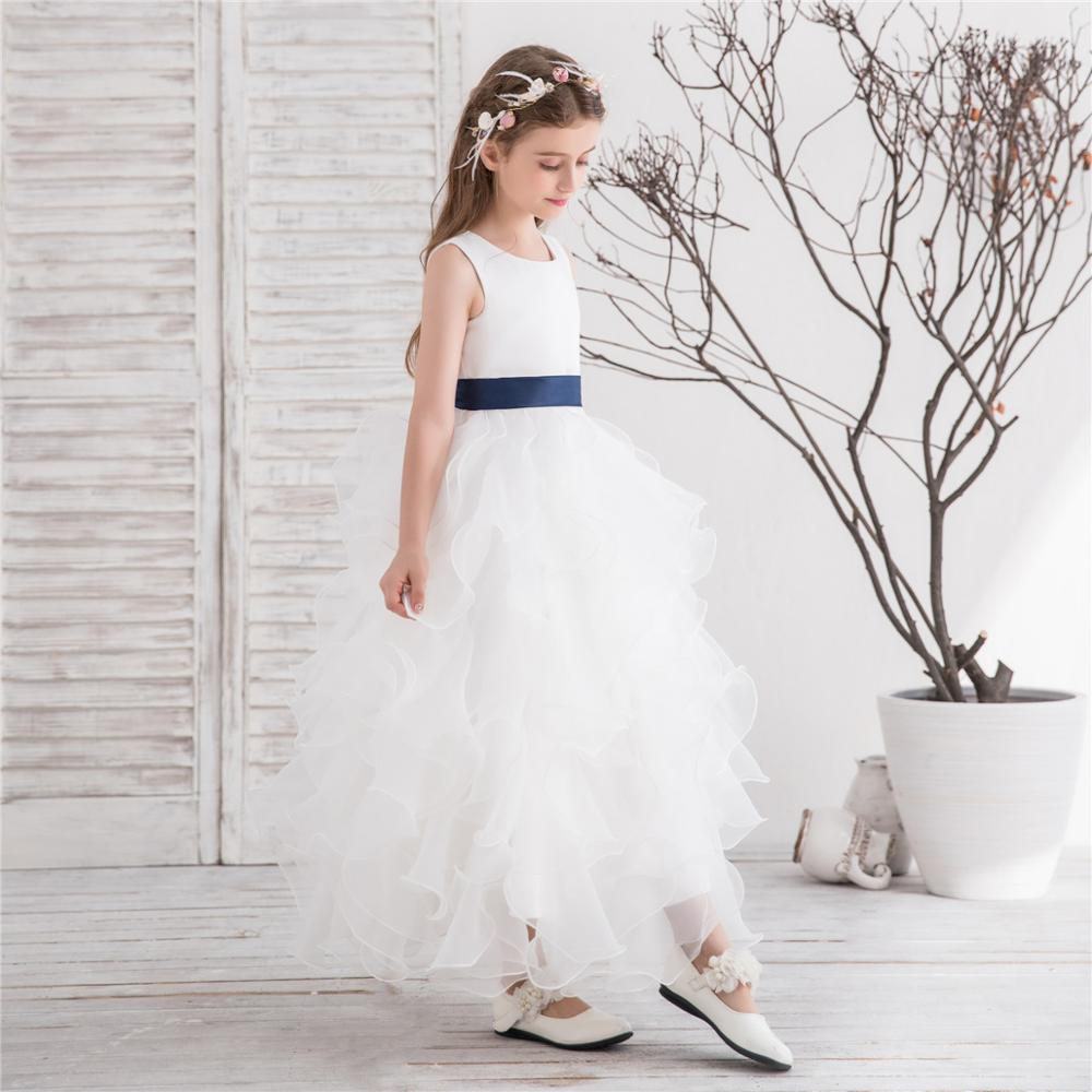2018 New wholesale lovely baby flower kids girl wedding dress white organza layers elegant satin bow sash flower girl dresses