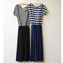 1pc top selling navy style fashion elegant stripe maxi dress japanese girl latest dresses