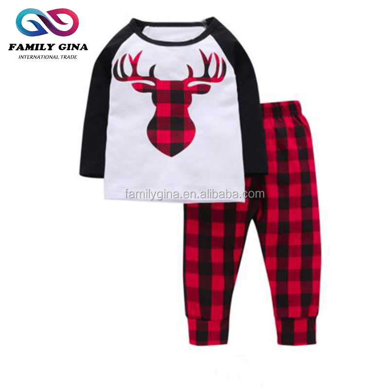 Wholesale Monogrammed Newborn Baby Girl Autumn Cotton Two Piece Long Sleeve Kid Deer Head Printed Qutfit