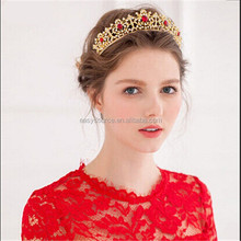 hot selling bridal wedding jewelry metal pageant alloy red crystal rhinestone golden tiaras and crown