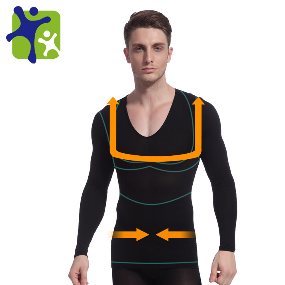 Whole sales !! Mens Body Shaper Long Sleeve Undershirt,male auto-heating t shirt, free shipping NY104