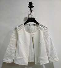 White Elegant Latest Design Ladies Formal Blazer with Laced Mesh for Business Ladies Woman White Blazer