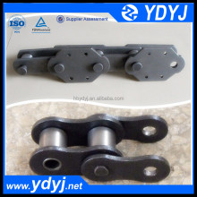 Double pitch transmission chain with attachment