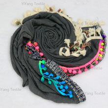 Solid Color Cheap Multifunction Pompom Polyester Handmade Scarf