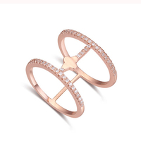Fashion jewelry unique design two circle linked in one ring diamodds rings price