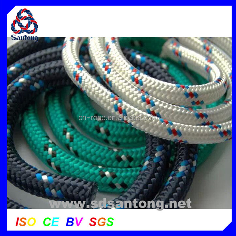 8mm PP colored 16-strand braided ship rope for boats