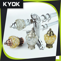 KYOK Pumpkin Finials Extension Curtain Rod, Chroming Resin Curtain Rod Finials Copper Metal Pole, Aluminum Curtain Rod Covers