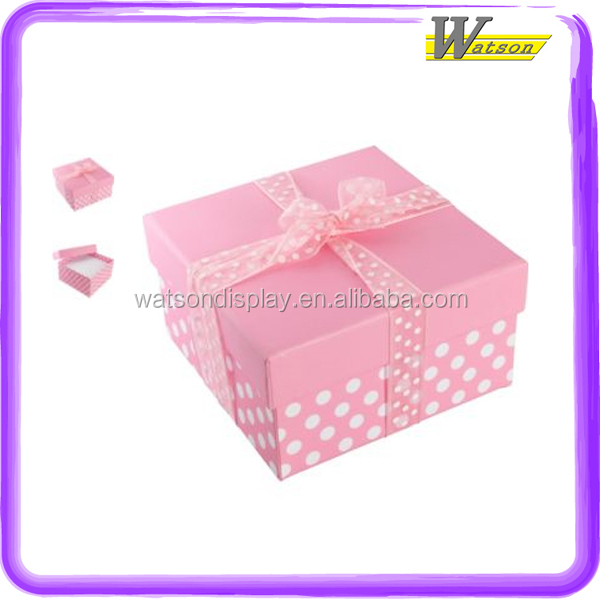 with ribbon bow cardboard printed pink and white polka dot square for kid toys custom made christmas gift box