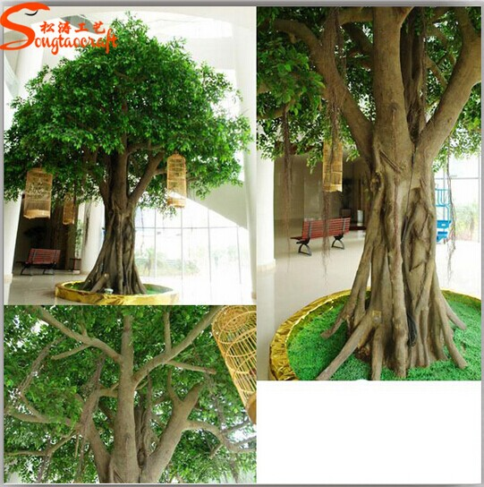 Two Become One Decorative Trees: Cheap Big Artificial Banyan Decorative Tree Large Outdoor