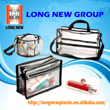 Elegant Black Edge with Zipper Travel PVC Transparent Clear Makeup Cosmetic Bag