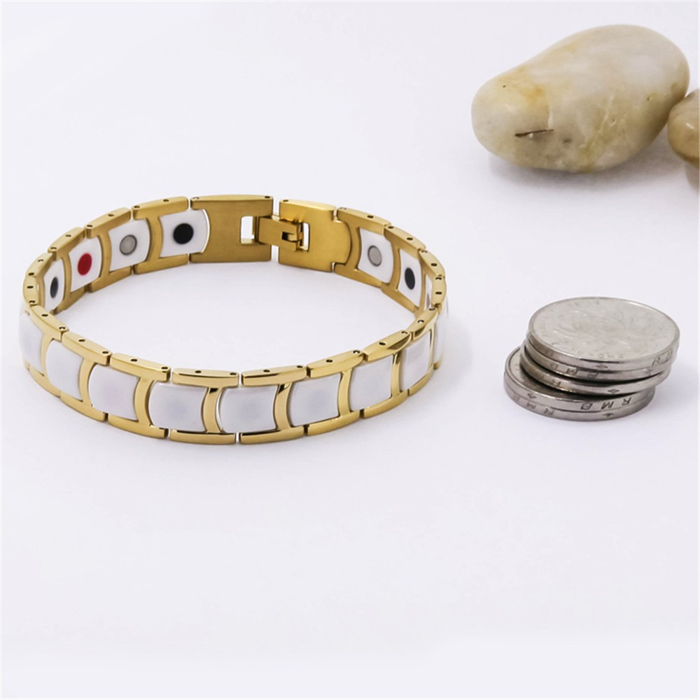 Fashionable white ceramic gold magnet germanium bracelet Korea japan style