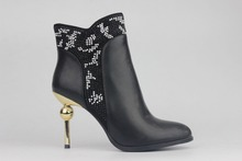 2017 Women Booties Shoes V-Cut Top Small Dots Accent High Heels with Ball