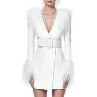2018 New fashion long sleeve v neck sexy bodycon women party club prom dress with feather