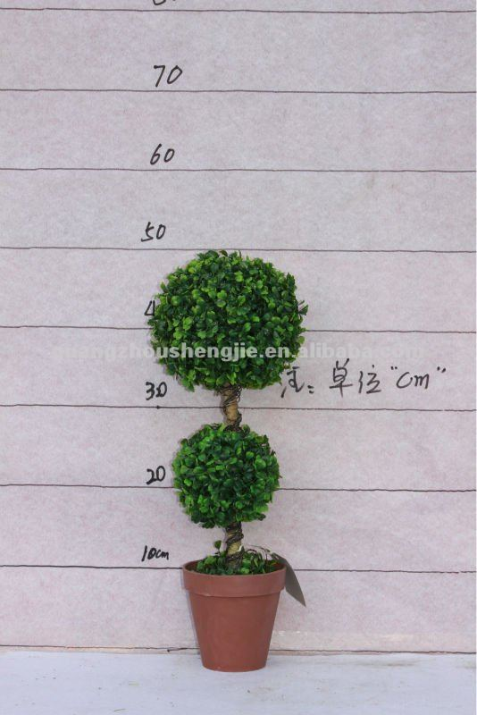 2013 New Design Small Boxwood Topiary 2 ball plastic handicraft