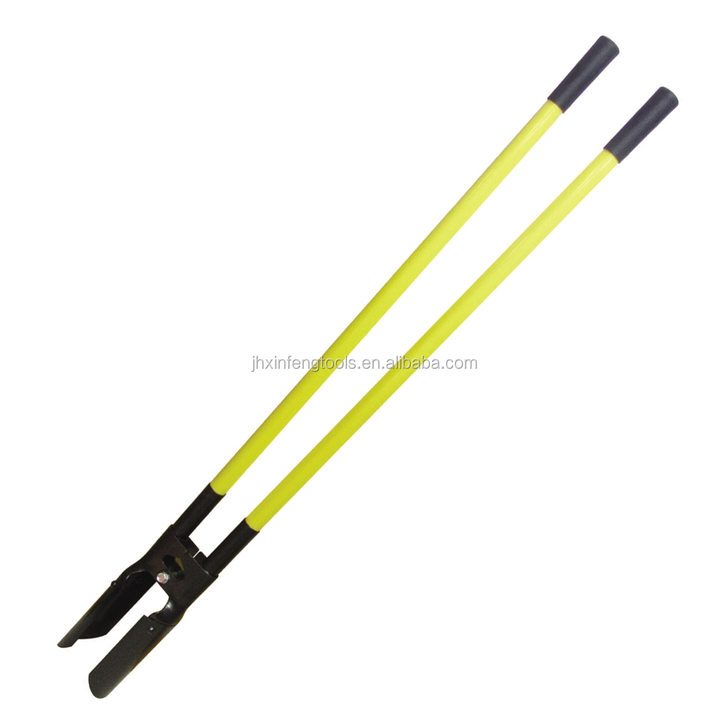 carbon steel fence post hole digger with fiberglass and wooden handle antislip farm hand tools
