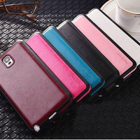 High protective pu leather layer impact silicon back cover for samsung galaxy note 3 cover