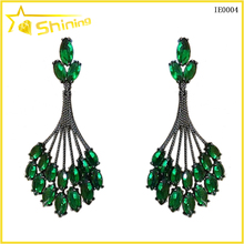 wholesale women fashion jewelry with emerald green gemstone paved earrings brazil