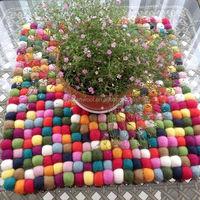 wool felt ball colorful custom-made 100% wool felt ball rugs