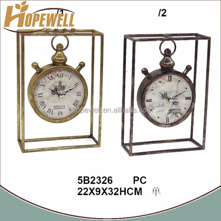 antique decoration bedside table clock , wrought iron stand clock manufacturer