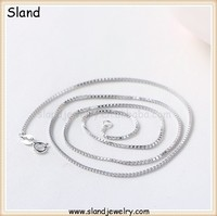 wholesale alibaba DIY pendant sterling silver box chain necklace - Luxurious 925 silver Box Chain with rhodium plated,Low MOQ