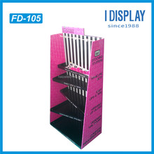 point of purchase hot sale stand cosmetic corrugated paper cardboard floor display with hook