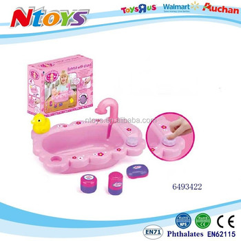 Baby bath set without doll washbasin with accessories(EN71/62115/ASTM certificates) with music with 3*AG13 batteries