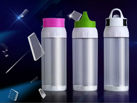 Double-Layer Space Bottle With Straw,Recycle Glass Water Bottle,Heat-Insulated,500ml-Logo Printing