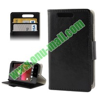 Crazy Horse Wallet Leather Case for HTC Desire 200 with Stand and Card Slots