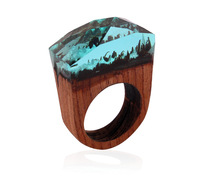 New Fashion Clear Resin Blue Wood Finger Ring Knuckle Rings for Women Man Punk Unique Handmade Scenery Jewelry Gift