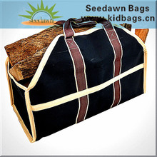 Durable Thick Nylon Rough Strap Binding Firwood Log Carrier Bag with Long Webbing Handles Through Body for Fireplace