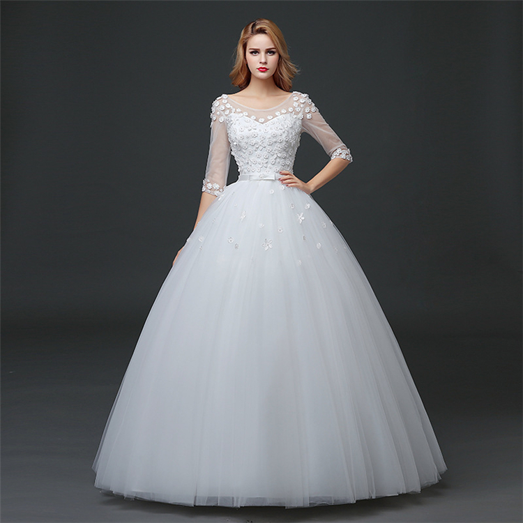 HS1620 2017 Cheap Aliexpress Real Pictures Maxi Puffy Ball Gown Wedding Dress China